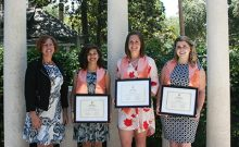 Dr. Cindy Prins with Student inductees Jazmina Quintana, Brandace Stone, and Carlyn Ellison